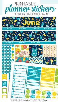 June Planner Kit, June Monthly Stickers Kit, fits Erin Condren, ECLP June Stickers, Summer Monthly Planner, June Stickers - Design Lovely Studio #erincondren #erincondrenplanner #erincondrenstickers #eclp #plannerstickers #printablestickers