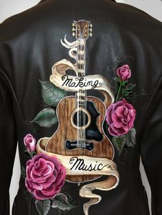 Painted Leather Jacket - Making Music - Songwriter - Size S Hand Painted Leather Jacket - Making Music - Songwriter - Size SHand Painted Leather Jacket - Making Music - Songwriter - Size S Painted Jeans, Painted Clothes, Hand Painted, Denim Kunst, Custom Denim Jackets, Painted Leather Jacket, Painting Leather, Diy Clothes, Diy Fashion