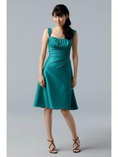 Taffeta Spaghetti Straps Cap Sleeves Tucked Bodice Knee-Length Bridesmaid Dress
