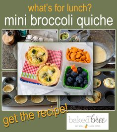 "Mini broccoli quiches are portable and can be made ahead. Beautiful lunch and detailed recipe from Baked Bree. Great for the lunch box.<br /> HERE ►► <a href=""http://bit.ly/16O6UOm"">http://bit.ly/16O6UOm</a>"