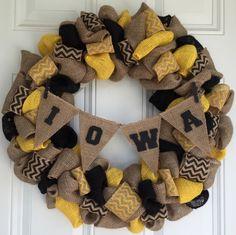 Sports Wreath, Burlap Wreath,  Iowa University, Iowa Hawkeyes, Chevron, Sports Fan by LetMeCraft4U on Etsy https://www.etsy.com/listing/252079265/sports-wreath-burlap-wreath-iowa