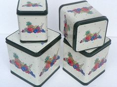 1970's Small Nesting Metal Canister Set with by ChaseyblueVintage