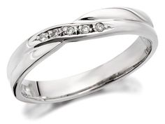 9ct White Gold Diamond Set Crossover Wedding Ring - 3mm - R2312 | F.Hinds Jewellers