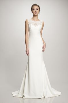 """Gorgeous """"Nadia"""" stretch Crepe and lace wedding dress available at Carrie Karibo Bridal Cincinnati, Ohio www.carriekaribobridal.com"""