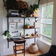Shelfie workspace inspiration + regram from Kelli @chroniclesofshe  The way to our heart is a plant filled shelfie desk... and that's exactly what Kelli has built in her beautiful home  Add a window into the mix + we have ourselves a seriously dreamy workspace     Thanks Kelli for inspiring us with your DIY #workspacegoals  (good job Jared )