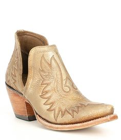 Shop for Ariat Dixon Distressed Leather Gold Western Block Heel Boots at Dillard's. Visit Dillard's to find clothing, accessories, shoes, cosmetics & more. Rain Boots, Shoe Boots, Ankle Boots, Block Heel Boots, Block Heels, Gold Boots, Wedding Boots, Western Boots, Western Outfits