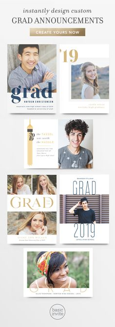 Celebrate your soon-to-be grad with Basic Invite's 2019 line of completely customizable super cute g Graduation Quotes, High School Graduation, Graduation Cards, Graduation Invitations, Graduation Ideas, Invites, Senior Announcements, Grad Pics, Grad Parties
