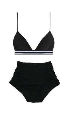 Black Triangle Tri Elastic Top and Ruched High waist waisted Shorts Bottom swimsuit bikini set sets 2pc bathing suit suits swimwear S M L XL by venderstore on Etsy