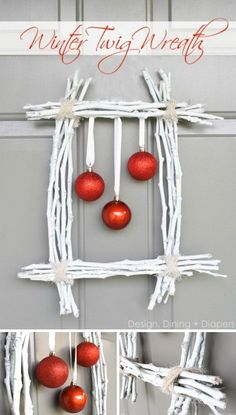 Winter Twig and Ornaments Wreath.