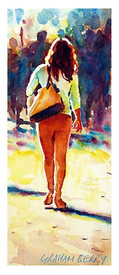 "Walking in sunshine by Graham Berry Watercolor ~ 12"" x 5"""