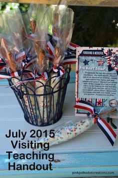 July 2015 Visiting Teaching treat and Handout by PinkPolkaDotCreations.com #VisitTeach