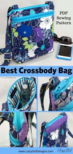 Lazy Girl Designs Lexi pattern carries all you really need and keeps your belongings safe, secure, and tidy. Bag Sewing Pattern, Sewing Patterns Free, Free Sewing, Bag Patterns To Sew, Quilted Purse Patterns, Corset Pattern, Wallet Pattern, Tote Pattern, Quilt Patterns