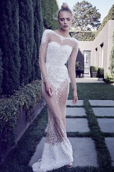 Sparkle On Your Wedding Day in This Pearl Embellished Gown From Con Ilio's Launch Collection. | WedLuxe Magazine  This really should be worn with a nude or coloured slip, and it would be so Old Hollywood Glam.