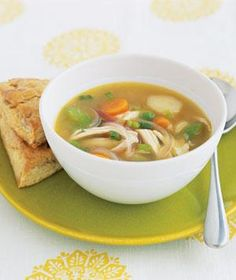 Ginger Chicken Soup With Vegetables. I love this recipe especially during cold season (without the biscuits, sorry!).