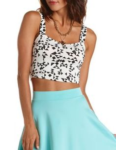 Printed Knit Crop Top