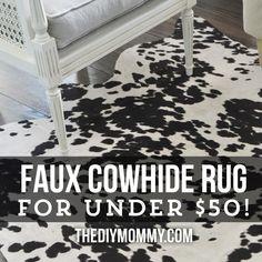 DIY faux cowhide rug for under $50! - via The DIY Mommy