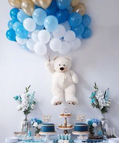 Baby Shower Balloons – An Easy & Cost Effective Way To Creat.-Baby Shower Balloons – An Easy & Cost Effective Way To Create A Fabulous Baby Shower Baby shower balloons are amazing decorations for a girl, boy, and neutral showers. Baby Shower Wall Decor, Idee Baby Shower, Shower Bebe, Girl Shower, Baby Shower Boys, Boy Baby Showers, Boy Baby Shower Cakes, Baby Shower Table Set Up, Baby Boy Babyshower Themes