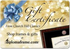 Are you looking for the perfect gift for an upcoming graduate or alumni? Let them pick out their diploma frame with an eGift Certificate. Your loved ones can honor their achievements by creating a custom frame for their college diploma!