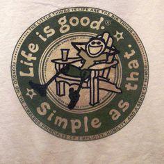 LIFE IS GOOD Tee Shirt Logo Size Medium Cool Light Tan Genuine LIG T-shirt Soft #LifeIsGood #ShortSleeveCrewNeck