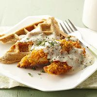 Crispy Chicken Tenders and Savory Waffles with Herb Gravy. For more chicken recipes made for people with diabetes in mind visit: http://www.diabeticlivingonline.com/diabetic-recipes/chicken/chicken-recipes/