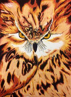 Oil Pastel Owl pt.2