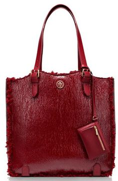 Tory Burch Patent Shearling Channing Tall Tote