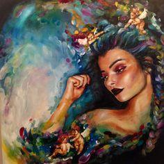 Athena (original) by katy jade dobson 스케치 винсент ван гог, к Oil Painting Abstract, Watercolor Art, Arte Pop, Wildlife Art, Female Art, Art Inspo, Fantasy Art, Art Drawings, Art Projects