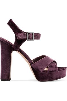 Heel measures approximately 115mm/ 4.5 inches with 30mm/ 1 inch platform Grape velvet Buckle-fastening ankle strap Designer color: Port Wine Imported Small to size. See Size & Fit notes.
