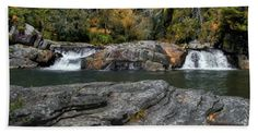 Linville Falls Bath Sheet featuring the photograph Linville Falls - Lower View by Scott Hervieux