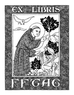 Bookplate design by artist Daniel Mitsui. St. Francis of Assisi preaching a sermon to the birds, ex libris.