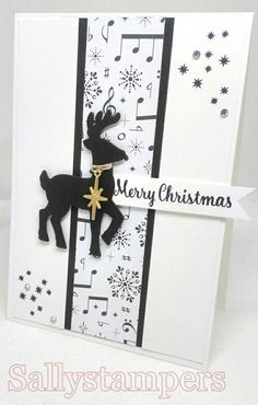 Monochrome Reindeer. Simple yet effective with Merry Music DSP. Independent Stampin' Up!® Demonstrator UK.