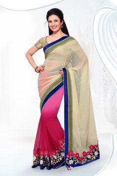 Buy Cream Georgette Party Wear Saree Online in low price at Variation. Huge collection of Party Wear Sarees for Party, Festivals, Engagements and Ceremonies. #party #partywearsarees #sarees #onlineshopping #latest #lowprice #variation. To see more - https://www.variationfashion.com/collections/party-wear-sarees