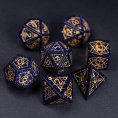 Tarot, Dragon Dies, Dungeons And Dragons Dice, Gold Ink, Blue Zircon, Tabletop Games, Hand Engraving, Decir No, Astrology