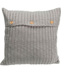 Heart of House Knitted Cushion - Grey.