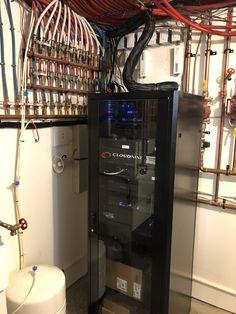 Control4 systems rack with custom cloud 9 AV faceplate. Araknis networks. Toronto muskoka smart home systems Cloud 9, Smart Home, Liquor Cabinet, Toronto, Storage, Furniture, Home Decor, Smart House, Purse Storage