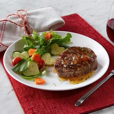 I'm checking out a delicious recipe for Steak Filets with Peach Glaze from Kroger!
