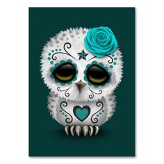 'Cute Teal Blue Day of the Dead Sugar Skull Owl' Art Print by jeff bartels Sugar Skull Owl, Sugar Skull Tattoos, Crane, Black Sugar, Cases Iphone 6, Owl Photos, Owl Pics, Owl Pictures, Pink Day
