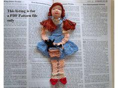 crochet bookmark pattern, Dorothy and Toto of Kansas. $6.95, via Etsy.