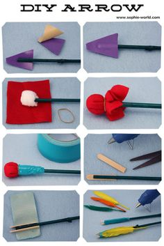 making toy bow and arrow - bamboo bow, padded dowel arrows.