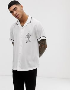 0361a43bc0f1a ASOS DESIGN relaxed fit revere collar viscose shirt with palm embroidery in white  Revere Collar