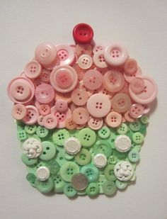 Beautiful Cupcake button collage... could add sequins or smaller buttons as sprinkles.