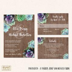 Succulent Wedding Invitation Suite, Garden Wedding, Rustic Wedding Invitation Set with Watercolor Succulents, Purple Succulents - Ellie II by DIVart on Etsy