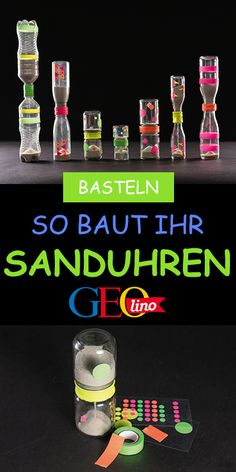 Sanduhren basteln: So gehts! Wir basteln Sanduhren im Handumdrehen! Die Anleitu… Making hourglasses: That's how it works! We make hourglasses in an instant! You will find the instructions GEOLINO. it Yourself The post Diy École, Easy Diy Crafts, Diy For Kids, Crafts For Kids, Diy Pillows, Hourglass, Kids And Parenting, Pin Collection, Hanukkah
