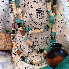 Boho style necklace on vintage lace http://www.pembaboutique.com/jewellery/textile/necklaces