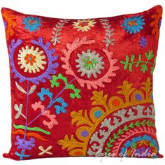 """16"""" RED SUZANI VELVET THROW PILLOW CUSHION COVER Colorful Indian Decor Art #Handmade #PillowCushionCover"""