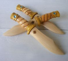 Golden Twist Jeweled Wooden Toy Dagger by FriendlyFairies on Etsy