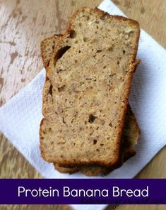 I love banana bread but still want to eat it on a diet! This recipe is perfect and has less sugar and oil, plus added protein! #bananabread #healthysnack #highproteinsnack #katemovingforward