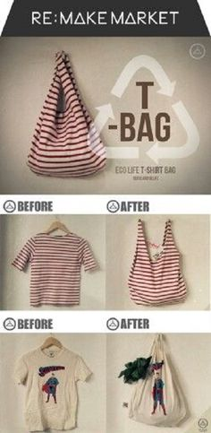 Diy Sewing Projects How To Make a No Sew T-Shirt Tote Bag in 10 Minutes - This no sew t-shirt tote bag made from old t-shirts can be whipped up in just ten minutes! It's perfect as a DIY tote or farmer's market bag. Sewing Hacks, Sewing Crafts, Sewing Projects, Sewing Tips, Sewing Tutorials, Bags Sewing, Bag Tutorials, Diy Projects No Sew, Craft Tutorials