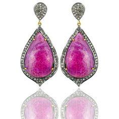 Pink Tourmaline & Diamond pear drop earrings