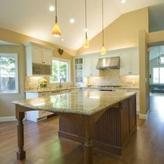Granite top Kitchen island with Seating. Granite top Kitchen island with Seating. Great Kitchen island Ideas for Your Inspiration In 2020 Granite Kitchen, Wooden Kitchen, Kitchen Redo, New Kitchen, Kitchen Remodel, Kitchen Layout, Kitchen Ideas, Kitchen Backsplash, Space Kitchen